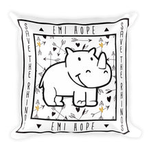 Load image into Gallery viewer, Boho Arrows Save The Rhinos Emi Square Pillow