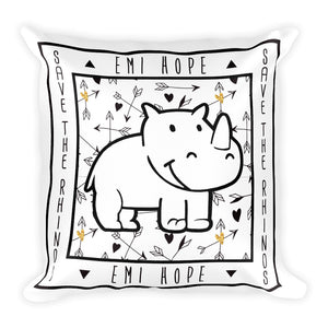 Boho Arrows Save The Rhinos Emi Square Pillow