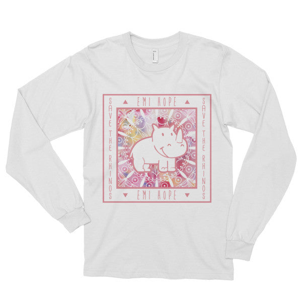 Pink Mandala Save the Rhinos Long sleeve t-shirt