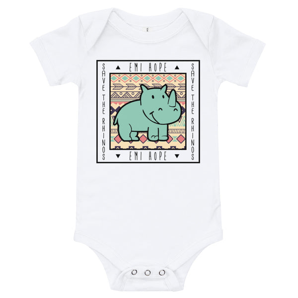 Mint Aztec Square Infant Short Sleeve Onesie