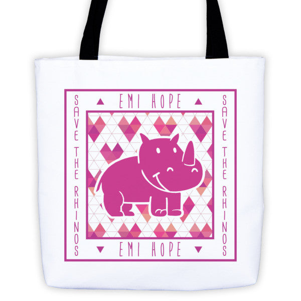 Geometric Hearts Save the Rhinos Emi Tote bag