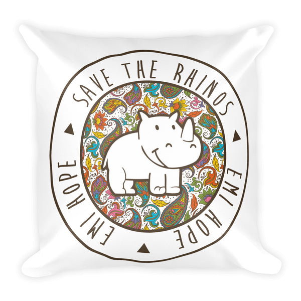 Paisley Save The Rhinos Square Pillow