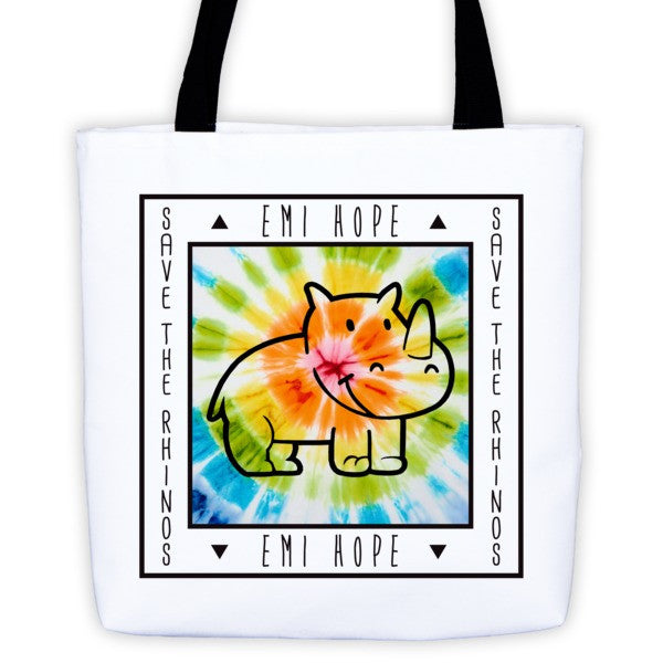 Tie Dye Save the Rhinos Emi Tote bag