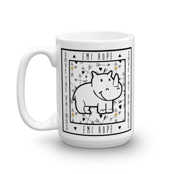 Boho Arrows Save The Rhinos Mug