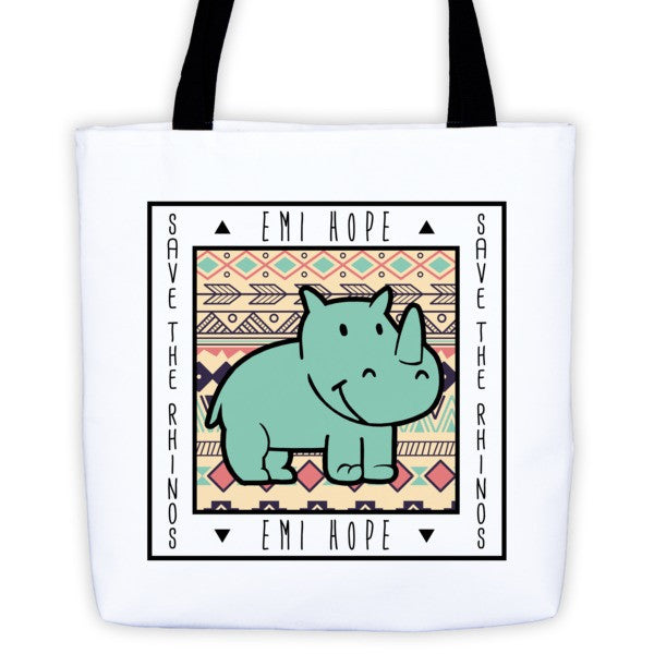 Mint Aztec Save the Rhinos Emi Tote bag