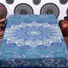 Trendyystuff Blue Star Hippie Tapestry, Hippy Mandala Bohemian Tapestries, Indian Dorm Decor, Psychedelic Tapestry Wall Hanging Ethnic Decorative