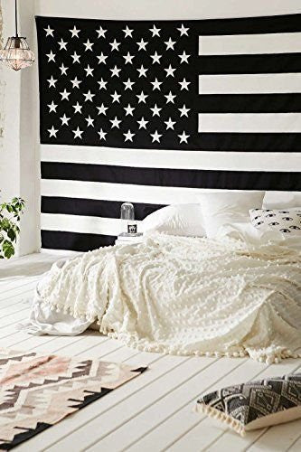 Popular Handicrafts American Flag Intricate Floral Design Indian Bedspread Magical Thinking Tapestry 54x84 Inches,