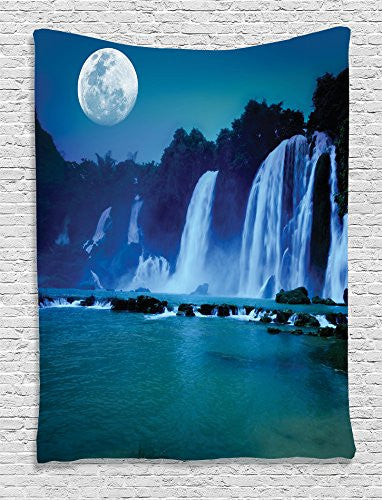Ambesonne Waterfall Decor Collection, Waterfall Under Moonlight Full Moon Nature Night Print, Bedroom Living Kids Girls Boys Room Dorm Accessories Wall Hanging Tapestry, Navy Blue Dark Turquoise