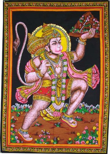"Huge Cotton Fabric Hanuman Monkey God Yoga 43"" X 30"" Tapestry"