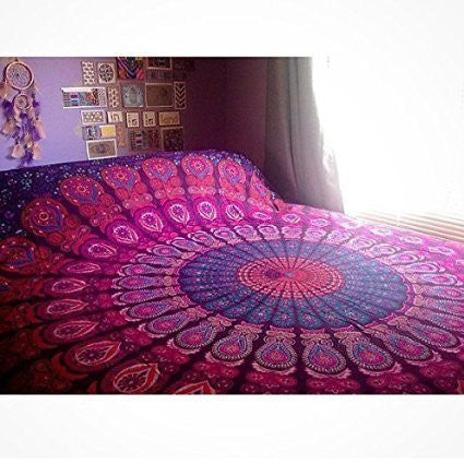 Indian Mandala Tapestry , Indian Hippie Hippy Wall Hanging , Bohemian Queen Wall Hanging, Bedspread Beach Tapestry