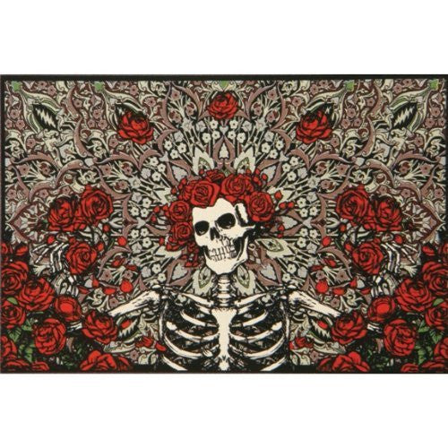 Grateful Dead Tapestry ~ Bertha With Roses Grey Backdrop ~ 100 % Cotton ~ Approx 5 x 7.5 ft