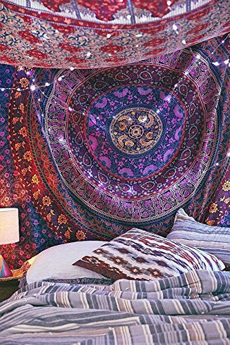 Indian Hippie Mandala Tapestry,Traditional Psychedelic Tapestry, Wall Hanging Tapestries,Throw Ethnic Queen Size Round Mandala,Indian Dorm Decor Tapestry,Indian Tapestry, Hippie Hippy Tapestry,
