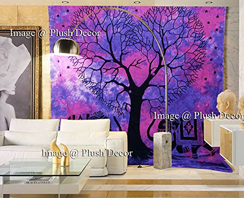 Trendyystuff Plush Decor Exclusive - Glorious Attractive Purple Pink Heart Shaped Tree Tapestry Tie Dye Tapestries Indian Elephant Wall Hanging Beach Throw Wall Art