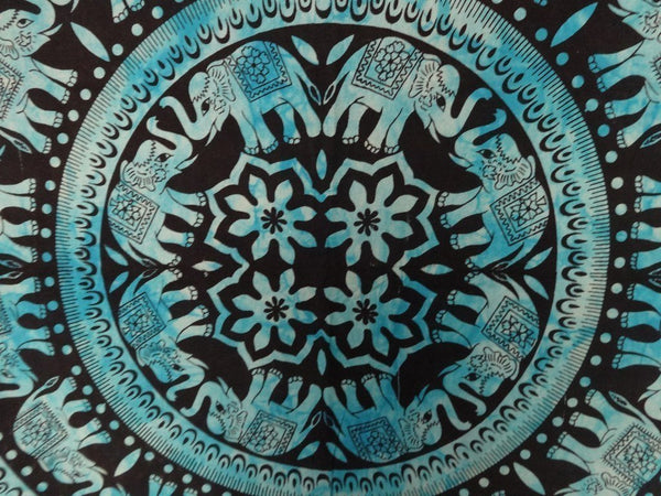 Trendyystuff Handicrunch Elephant Mandala Wall Hanging, Queen Size, Blue Color Theme, Heavy Cotton Fabric, Psychedelic Tapestry, Beach Throw, Indian Tapestry Bedding