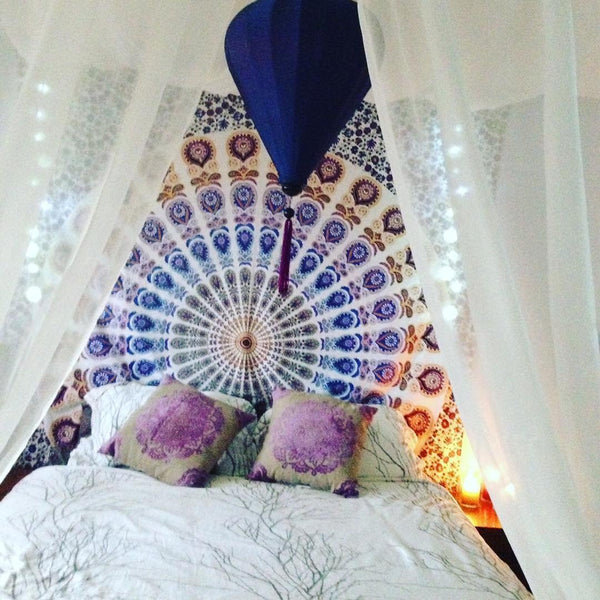 Wall Art Decor Tapestry Wall hangings Queen Bedspread Hippie Tapestries Dorm Blue Mandala beach curtain