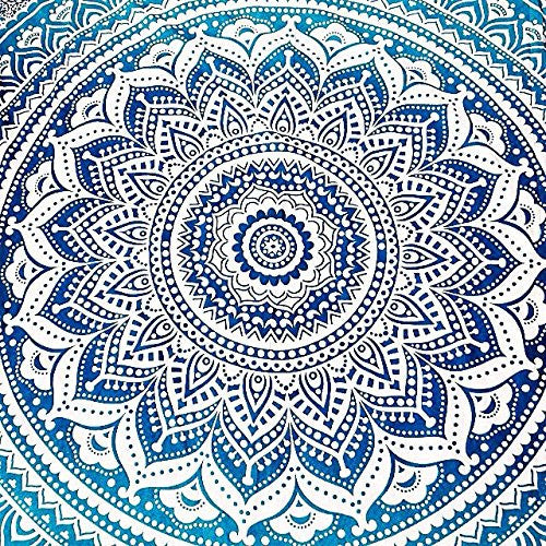 Indian Mandala Ombre Blue White Bohemian Boho Large Throw Bed Sheet Wall Hanging Tapestry Queen/double/kingsize