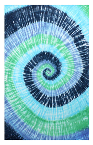 Blue Green Spiral Tie-Dye Tapestry Hanging Wall Art - Great for Apartments, Dorms, Homes, and Office