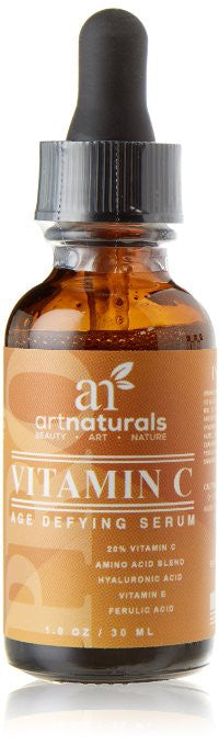 ArtNaturals Enhanced Vitamin C Serum with Hyaluronic Acid 1 Oz - Top Anti Wrinkle, Anti Aging & Repairs Dark Circles, Fades age spots & Sun Damage - 20% Vitamin C Super Strength - Organic ingredients