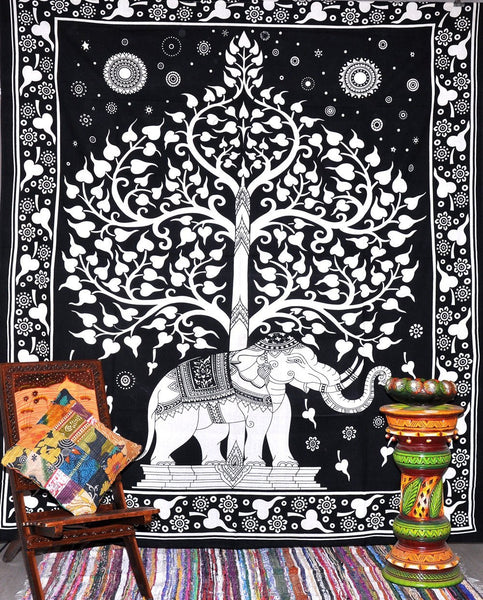 Elephant Under Tree Tapestries , Hippie Tapestries , Bohemian Boho Tapestry , Dorm Tapestry ,Wall Tapestries, Tapestry Wall Hanging- AndExports
