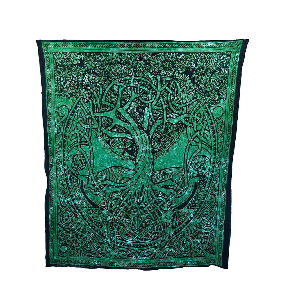 "Trendyystuff Courtney Davis Green Tree of Life Tapestry/bedspread 52"" X 76"" ~ Single"