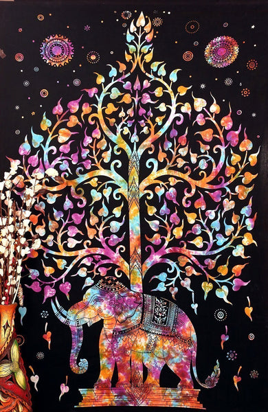 Marubhumi (TM) Tree of Life Psychedelic Good Luck Wall Hanging Elephant Tapestry, Multi/Black