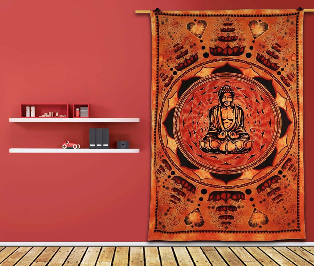 "Orange Wall Tapestry Handmade Table Cloth Budha On Lotus Bed Cover 80"" X 54"" Gift Art India"