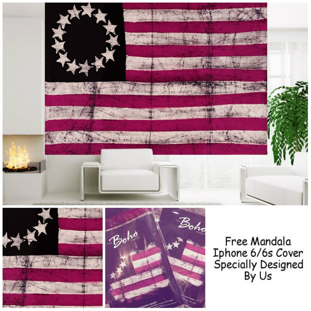 "United States Colonial Patriotic Flag Tapestry By ""The Boho Street"", Beautiful Indian Wall Art, Perfect Gift, Hippie Wall Hanging, Bohemian Bedspread"