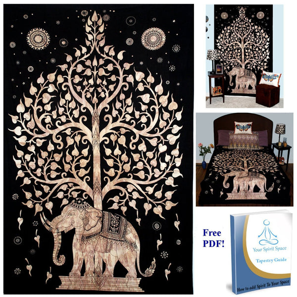 Your Spirit Space (TM) Black/Brown/Gold Good Luck Elephant Tapestry-Tree of Life. Quality Home or Dorm Hippie Wall Hanging. The Ultimate Bohemian Tapestry Decorati