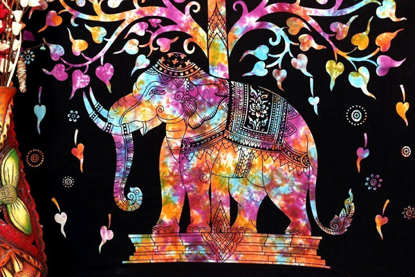 Marubhumi Tree of Life Psychedelic Wall Hanging Elephant Tapestry, Multi/Black