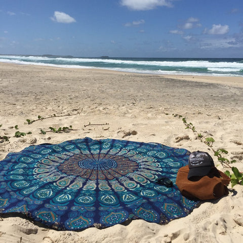Round Roundie Beach Throw Tapestry Hippy Boho Gypsy Cotton Tablecloth Beach Towel , Round Yoga Mat