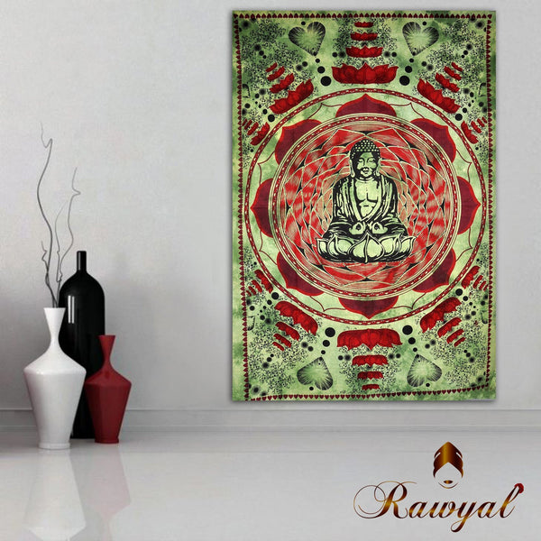 RawyalCrafts- Buddha Meditation & Lotus Flower Tapestry, Indian Tapestry, Indian Hippie Wall Hanging/ Dorm Divider,Picnic Blanket, Beach Blanket, Table Cloth