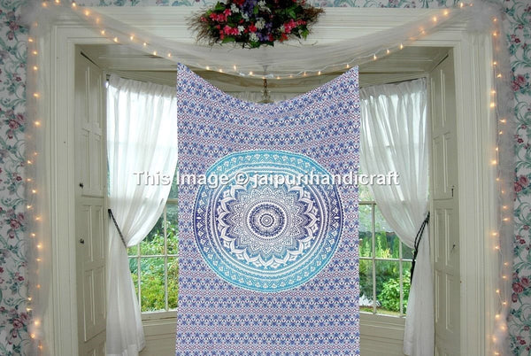 Trendyystuff Twin Blue Ombre Mandala Tapestry, Mandala Bohemian Tapestry Wall Hanging, Psychedelic Wall Art, Dorm Décor Beach Throw