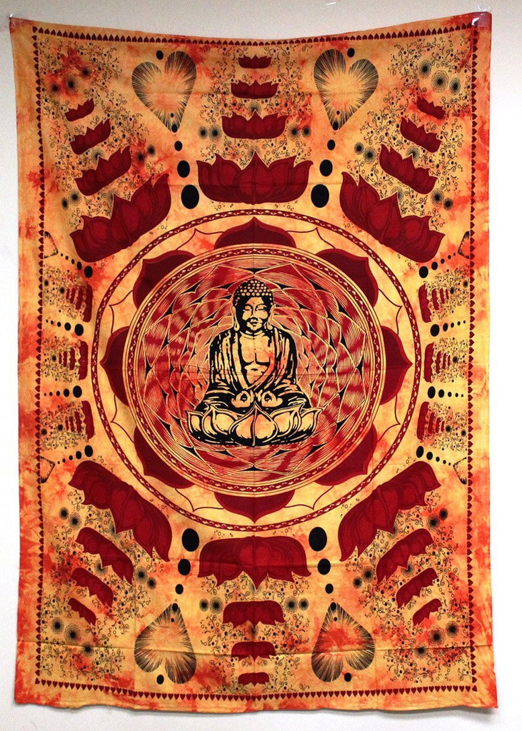 Trendyystuff Buddha Meditation and Lotus Cotton Brown Wall Hanging Tapestry From India
