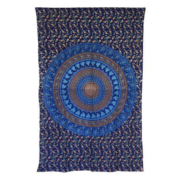Indian Elephant Mandala Hippie Tapestry Wall Hanging Bohemian Bedspread Ethnic Dorm Décor, 82 X 55 (Approx)