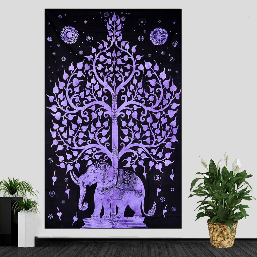 KayJayStyles Elephant Tree Tapestry Tree Of Life Tapestry Hippie Bohemian Dorm Wall Hanging (Purple)