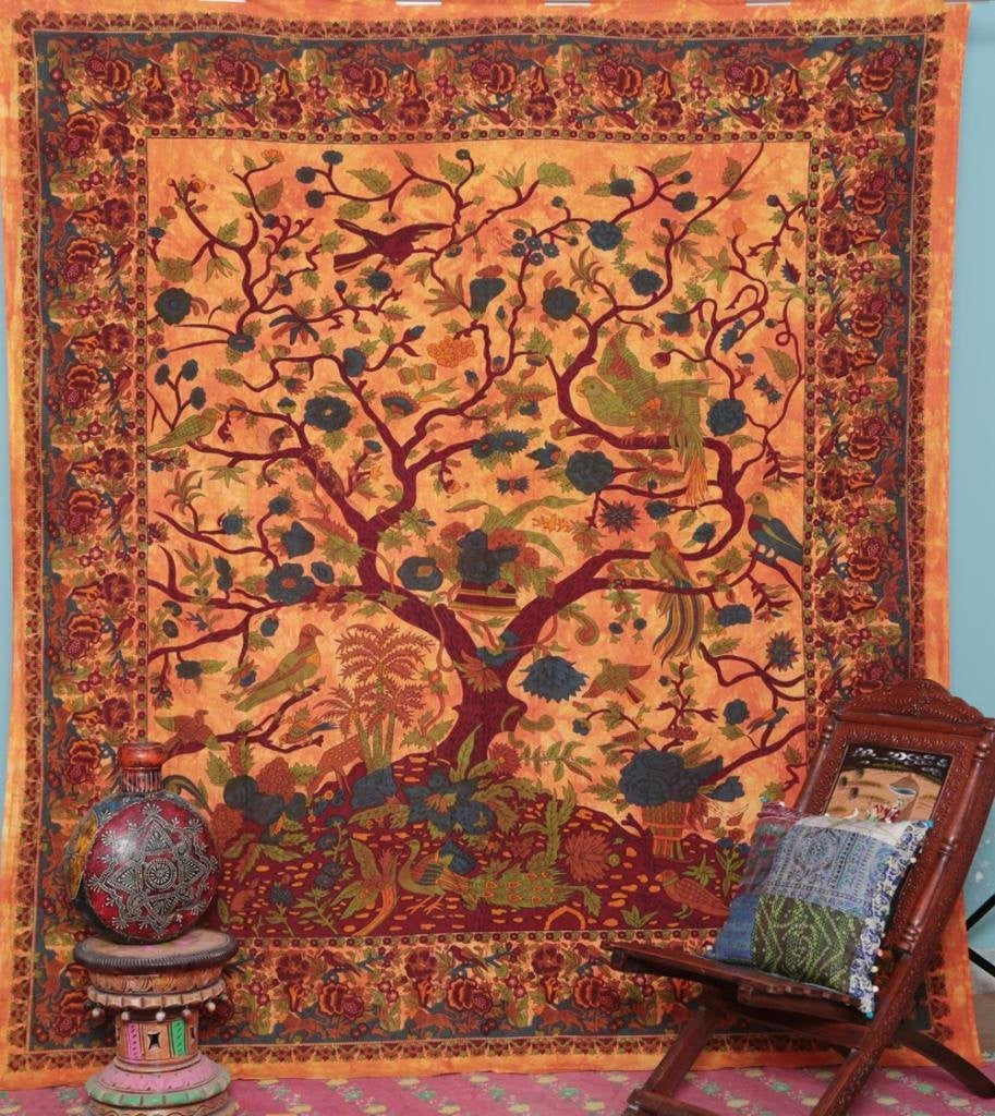 Trendyystuff Handicrunch Orange Indian Tree of Life Bedspread Blossom bird Tapestry