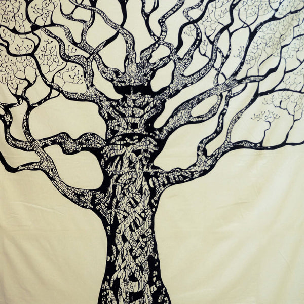 Indian Wall Hanging Cotton Tapestry Full Size Tree White Bohemian Tapestries 92X82 Inches