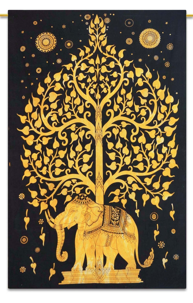Trendyystuff Rajasthali Tree of Life, Hippie Tapestries, Bohemian Boho Tapestry, Wall Hanging, and Bedspread (Golden)