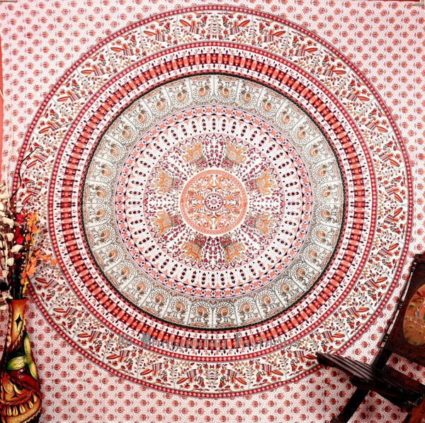 Kaleidoscopic Indian Ethnic Elephant White Orange Peacock Hippie Hippy Blue Mandala Cotton Tapestry Wall Hangings Throw 86x94""