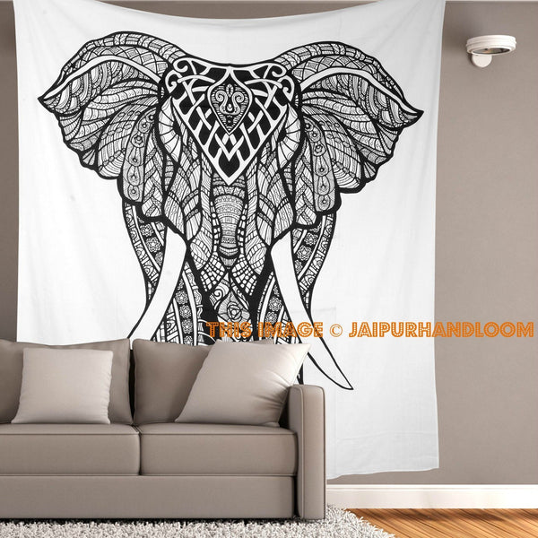 Trendyystuff Jaipurhandloom Black and White Tapestries Elephant Mandala Hippie Tapestry Indian Traditional Throw Beach Throw Wall Art College Dorm Bohemian Wall Hanging Boho Twin Bedspread