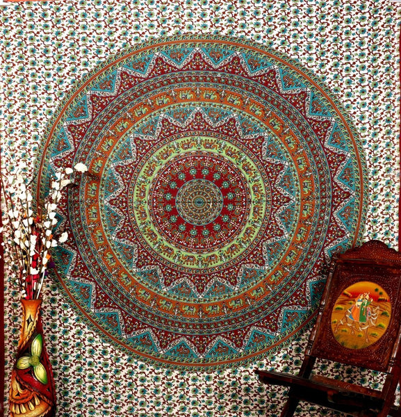 "Indian Elephant Mandala Hippie Hippy Bohemian Cotton Tapestry Decor Art 86x94"" By Bhagyoday"