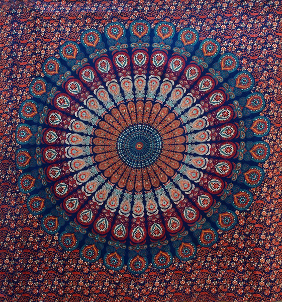 Popular Hippie Large Size Tapestry Wall Hanging, Bohemian Tapestries Bedding 84x90 Inch (215x230cms)