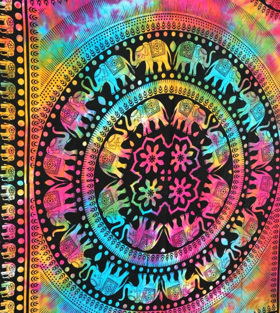 Tie Dye Elephant Mandala Hippie Tapestry, Hippy Mandala Bohemian Tapestries, Indian Dorm Decor, Psychedelic Tapestry Wall Hanging Ethnic Decorative (Multi Color)