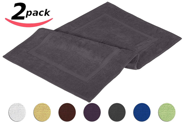 Spa Tub-Shower Bath Mat - Floor Mat - 2 Pack, Grey, 100% Ringspun Cotton, Luxury Size, Maximum Absorbency, Machine Washable (21 inch by 34 inch)