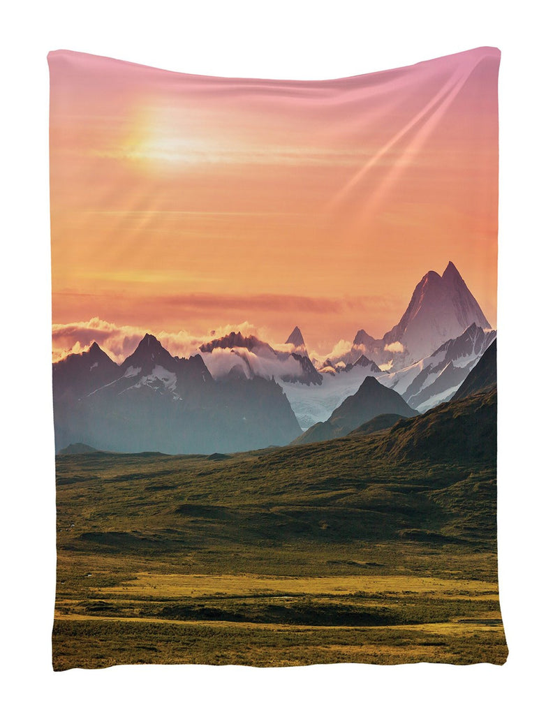 Sunset and Mountains Wall Hanging Tapestry with Romantic Pictures Art Nature Home Decorations for Living Room Bedroom Dorm Decor in 60x80 Inches Shiny Silky Satin, Orange Gray Brown