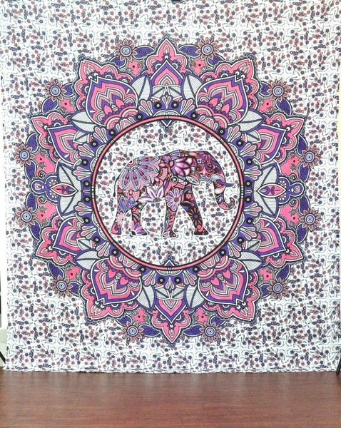 Jaipurhandloom Christmas Gift Elephant Hippie Mandala Bohemian Psychedelic Intricate Floral Design Indian Bedspread Magical Thinking Tapestry