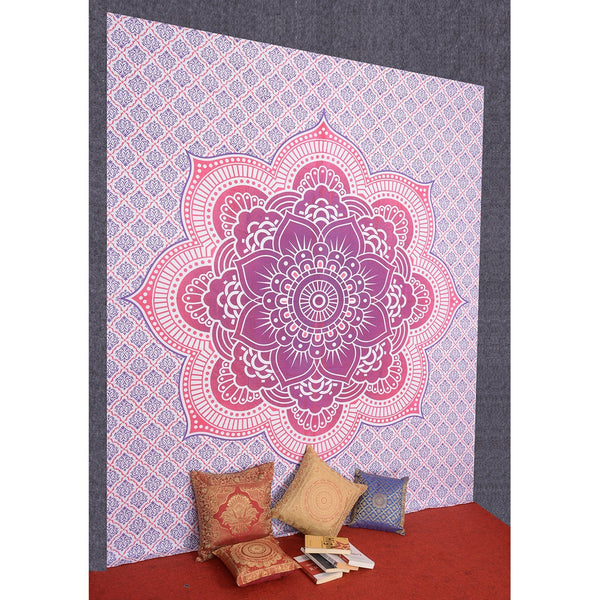 Craft N Craft Ombra Hippie Mandal Bohemian Psychedelic Floral Design Bedspread Tapestry 82 X 92 Inches