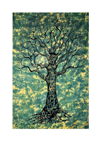 Roll over image to zoom in      Handicrunch Tree of life print Tapestry, Indian Hippie Wall Hanging