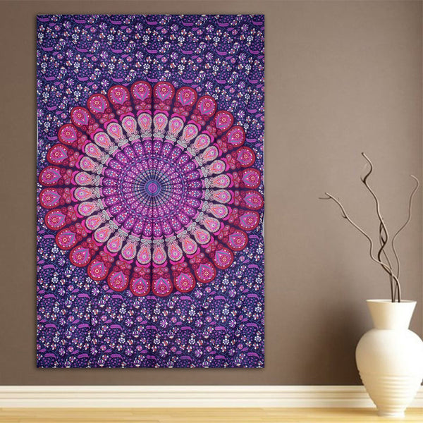 ModTradIndia-Pink & Purple Mandala Indian Tapestry, Hippie Wall Hanging , Bohemian Bedspread, Mandala Cotton Dorm Decor Beach blanket