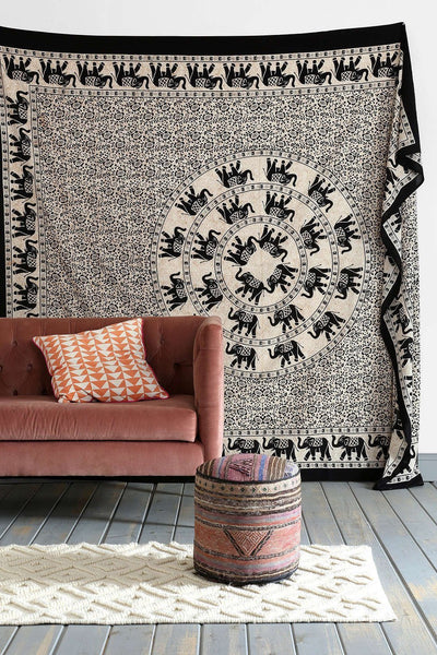 trendyystuff  Batik base off-white Tapestries or Black & white Mandala Elephant Hippy Tapestry Indian Traditional Hippie Beach Throw Wall Art Bohemian Wall Hanging Boho Queen